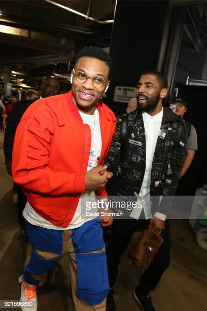 Russell Westbrook and Kyrie Irving of team LeBron arrive to the arena prior to the NBA AllStar Game as a part of 2018 NBA AllStar Weekend at STAPLES...
