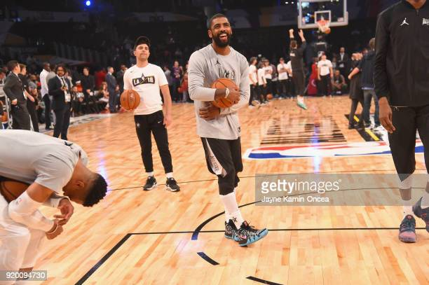 Russell Westbrook and Kyrie Irving warm up during the NBA AllStar Game 2018 at Staples Center on February 18 2018 in Los Angeles California