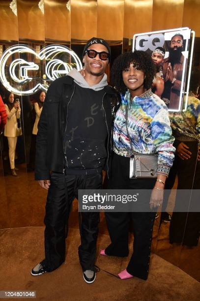 Russell Westbrook and Nina Earl attend the GQ March Cover Party at The Standard Highline on March 01 2020 in New York City