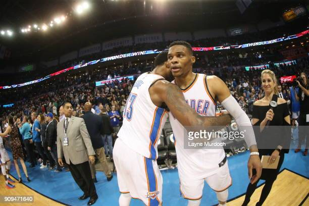 Russell Westbrook and Paul George of the Oklahoma City Thunder celebrate a win against the Brooklyn Nets on January 23 2018 at Chesapeake Energy...