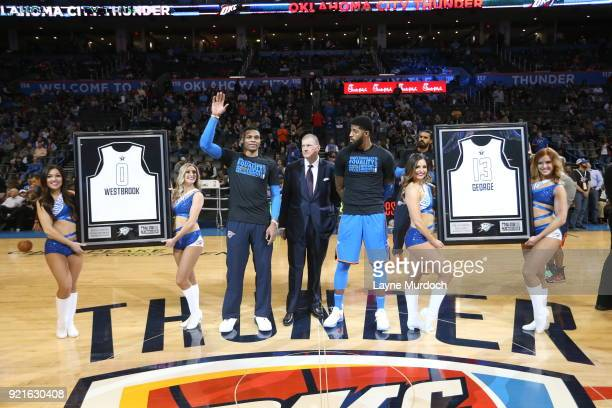 Russell Westbrook and Paul George of the Oklahoma City Thunder are presented their 2018 AllStar jerseys on February 13 2018 at Chesapeake Energy...