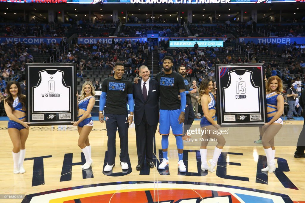 Russell Westbrook #0 and Paul George #13 of the Oklahoma City Thunder are presented their 2018 All-Star jerseys on February 13, 2018 at Chesapeake Energy Arena in Oklahoma City, Oklahoma.