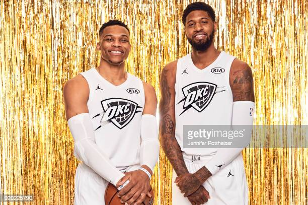 Russell Westbrook and Paul George of the Oklahoma City Thunder pose for a portrait during AllStar Saturday Night as part of 2018 NBA AllStar Weekend...