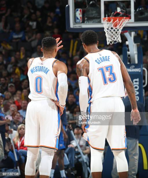 Russell Westbrook and Paul George of the Oklahoma City Thunder talk during the game against the Sacramento Kings on March 12 2018 at Chesapeake...