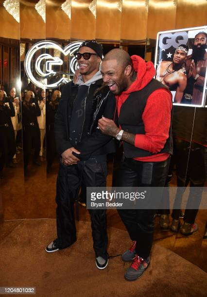 Russell Westbrook and PJ Tucker attend the GQ March Cover Party at The Standard Highline on March 01 2020 in New York City