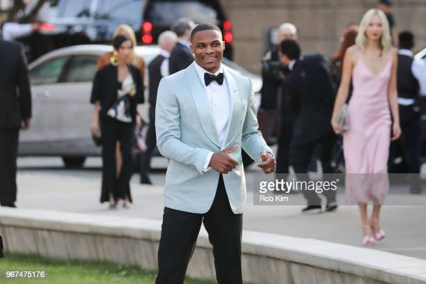 Russell Westbrook arrives for the 2018 CFDA Fashion Awards at Brooklyn Museum on June 4, 2018 in New York City.
