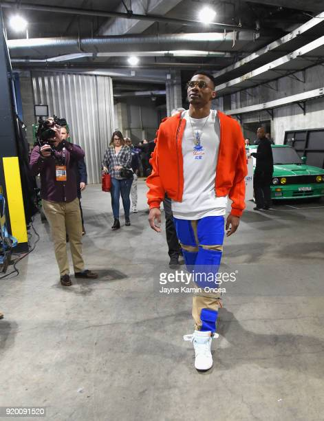 Russell Westbrook arrives to the NBA AllStar Game 2018 at Staples Center on February 18 2018 in Los Angeles California