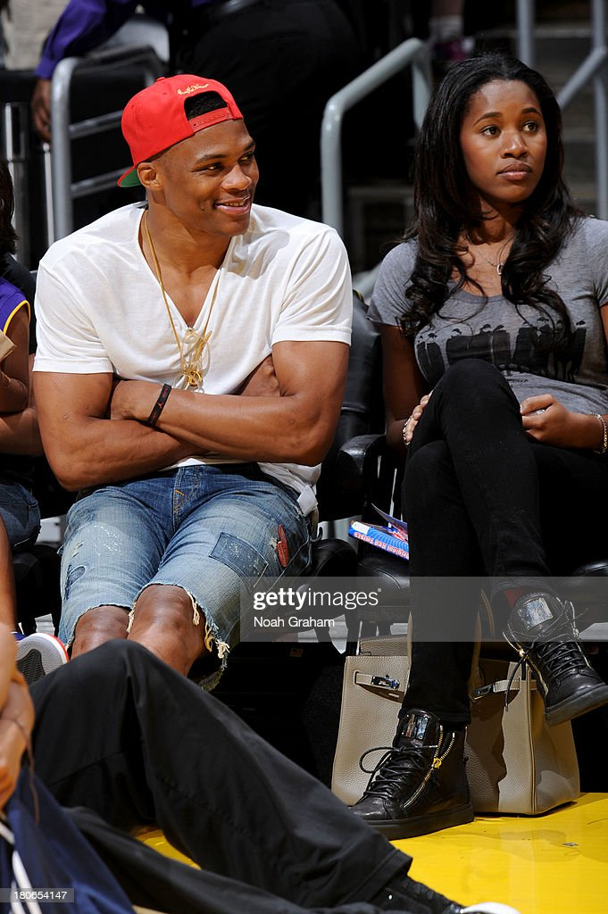 Russell Westbrook attends a game between the Los Angeles Sparks and the Phoenix Mercury at Staples Center on September 15, 2013 in Los Angeles, California.