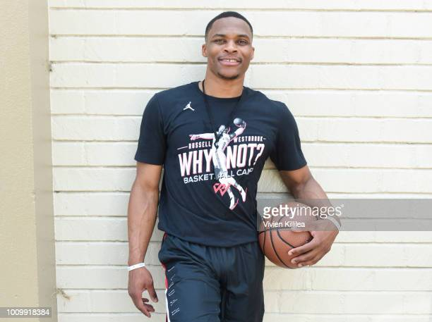 Russell Westbrook attends the 6th Annual Russell Westbrook Why Not Basketball Camp on August 2 2018 in Los Angeles California