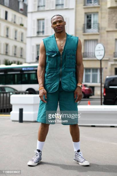Russell Westbrook attends the Acne Studios Menswear Spring Summer 2020 show as part of Paris Fashion Week on June 19 2019 in Paris France