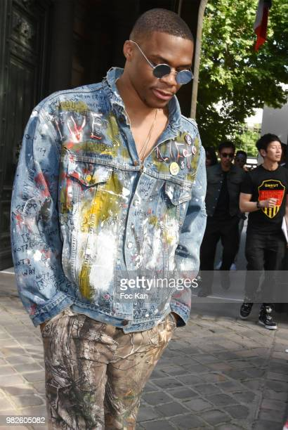 Russell Westbrook attends the Dior Homme Menswear Spring/Summer 2019 show as part of Paris Fashion Week on June 23 2018 in Paris France