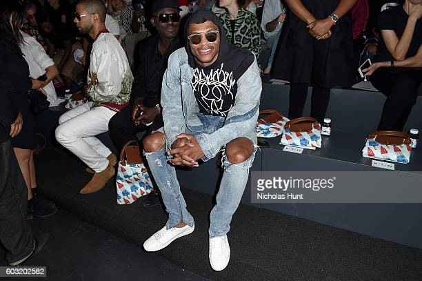 Russell Westbrook attends the Jeremy Scott fashion show during New York Fashion Week The Shows at The Arc Skylight at Moynihan Station on September...