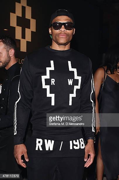 Russell Westbrook attends the Marcelo Burlon County of Milan show during the Milan Men's Fashion Week Spring/Summer 2016 on June 22, 2015 in Milan,...