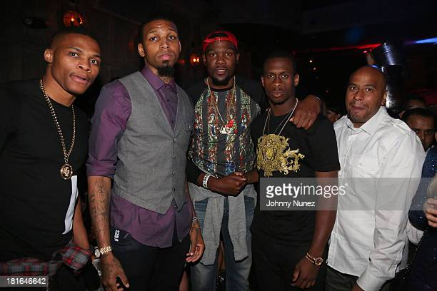 Russell Westbrook Cliff Dixon Kevin Durant Geno Smith and Juan Perez attend Kevin Durant's 25th Birthday Party at Avenue on September 22 2013 in New...