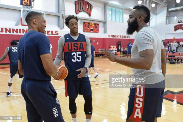 Russell Westbrook DeMar DeRozan and James Harden talk before USAB Minicamp at Mendenhall Center on the University of Nevada Las Vegas campus on July...