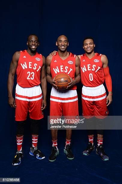 Russell Westbrook Draymond Green and Kobe Bryant of the Western Conference AllStars team pose for a portrait before the NBA AllStar Game on February...