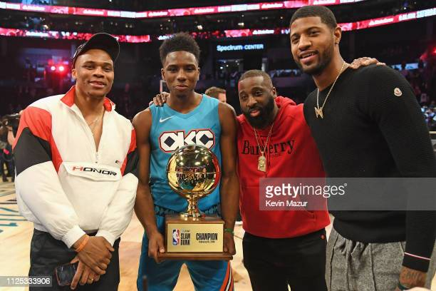 Russell Westbrook Hamidou Diallo Raymond Felton and Paul George pose after the ATT Slam Dunk during the 2019 State Farm AllStar Saturday Night at...