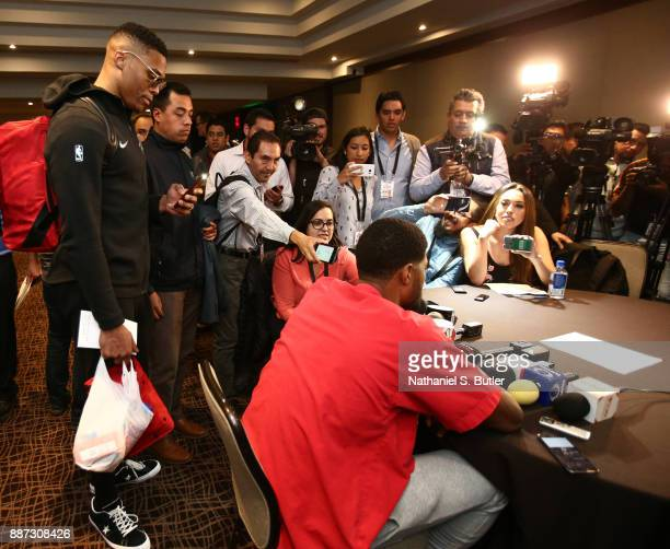 Russell Westbrook interviews Paul George of the Oklahoma City Thunder speaks to the media as part of the NBA Mexico Games 2017 on December 6 2017 at...