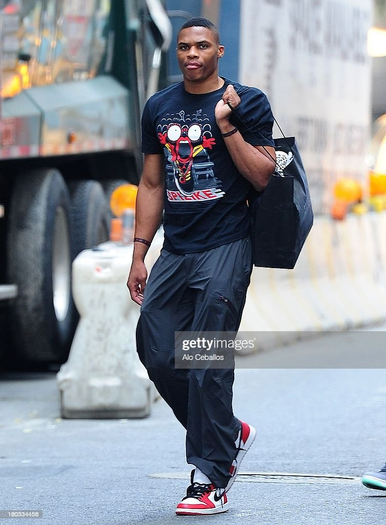 Russell Westbrook is seen in Soho on September 11, 2013 in New York City.
