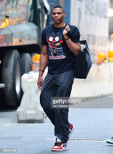 Russell Westbrook is seen in Soho on September 11 2013 in New York City