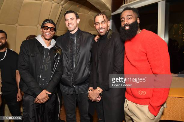 Russell Westbrook James Harden and guests attend the GQ March Cover Party at The Standard Highline on March 01 2020 in New York City