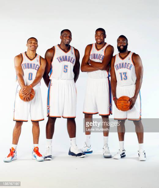 Russell Westbrook Kendrick Perkins Kevin Durant and James Harden pose for a portrait during 2011 NBA Media Day on December 13 2011 at the Oklahoma...