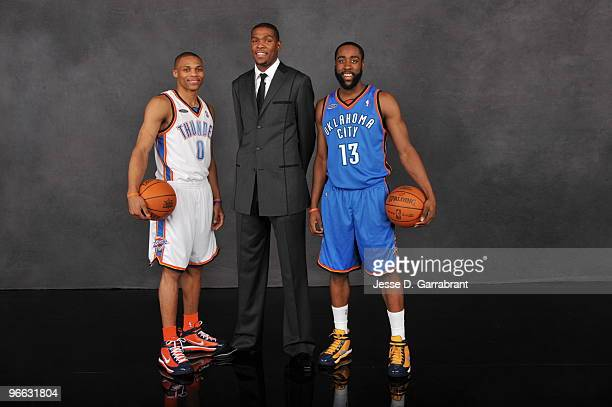 Russell Westbrook Kevin Durant and James Harden of the Oklahoma City Thunder poses for a portait prior to the TMobile Rookie Challenge and Youth Jam...