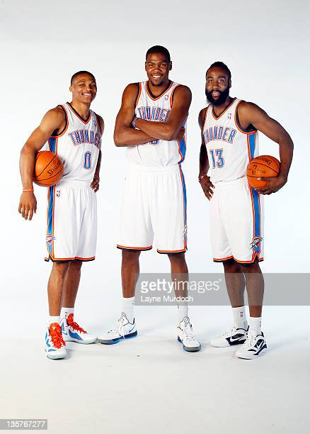 Russell Westbrook Kevin Durant and James Harden pose for a portrait during 2011 NBA Media Day on December 13 2011 at the Oklahoma City Arena in...
