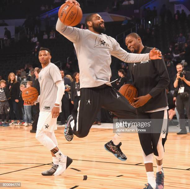 Russell Westbrook Kyrie Irving and Kevin Durant warm up during the NBA AllStar Game 2018 at Staples Center on February 18 2018 in Los Angeles...