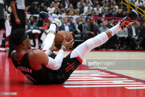 Russell Westbrook of Houston Rockets catches the ball during the preseason match between Toronto Raptors and Houston Rockets at Saitama Super Arena...