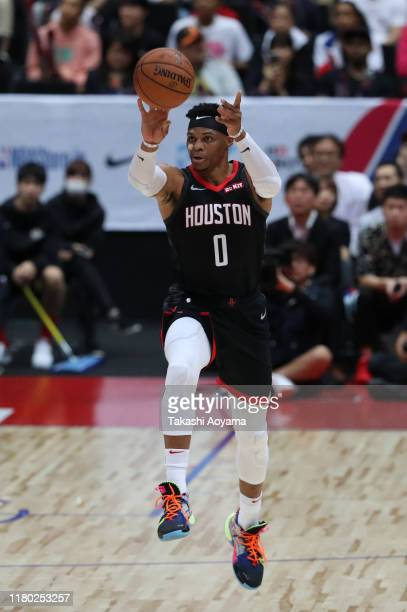 Russell Westbrook of Houston Rockets in action during the preseason game between Toronto Raptors and Houston Rockets at Saitama Super Arena on...