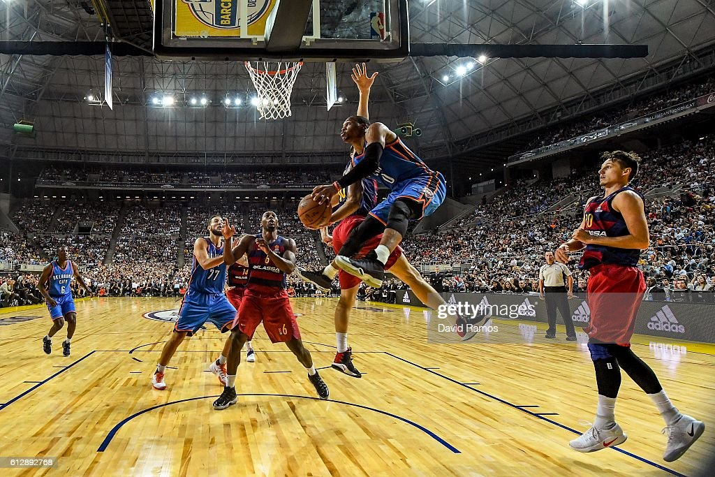 Russell Westbrook of Oklahoma City Thunder shoots the ball during the NBA Global Games Spain 2016 match between FC Barcelona Lassa and Oklahoma City Thunder at Palau Sant Jordi on October 5, 2016 in Barcelona, Spain.