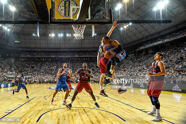 Russell Westbrook of Oklahoma City Thunder shoots the ball during the NBA Global Games Spain 2016 match between FC Barcelona Lassa and Oklahoma City...