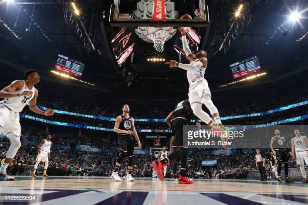 Russell Westbrook of Team Giannis dunks the ball against Team LeBron during the 2019 NBA AllStar Game on February 17 2019 at the Spectrum Center in...
