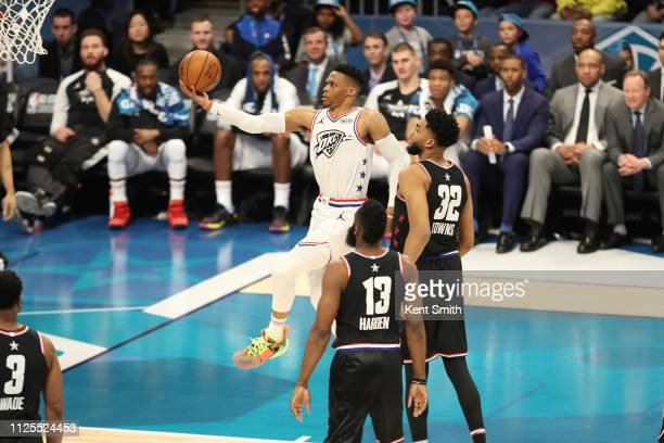 Russell Westbrook of Team Giannis goes to the basket against Team LeBron during the 2019 NBA AllStar Game on February 17 2019 at the Spectrum Center...