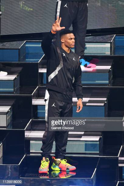 Russell Westbrook of Team Giannis is introduced during the 2019 NBA AllStar Game on February 17 2019 at the Spectrum Center in Charlotte North...