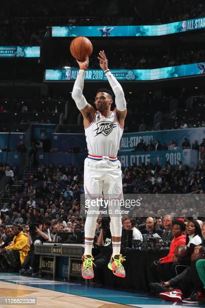 Russell Westbrook of Team Giannis shoots a threepointer against Team LeBron during the 2019 NBA AllStar Game on February 17 2019 at the Spectrum...