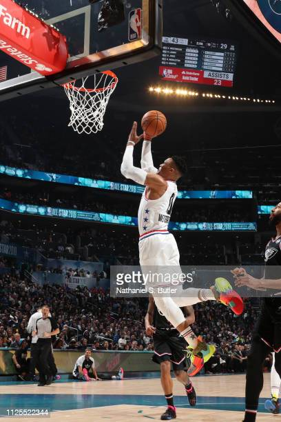 Russell Westbrook of Team Giannis shoots the ball against Team LeBron during the 2019 NBA AllStar Game on February 17 2019 at the Spectrum Center in...
