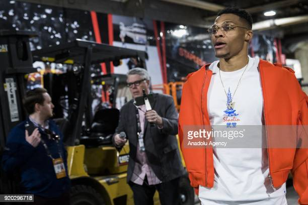 Russell Westbrook of Team Lebron arrives ahead of the 2018 NBA AllStar Game at the Staples Center in Los Angeles California on February 18 2018