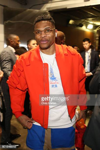 Russell Westbrook of team LeBron arrives to the NBA AllStar Game as a part of 2018 NBA AllStar Weekend at STAPLES Center on February 18 2018 in Los...