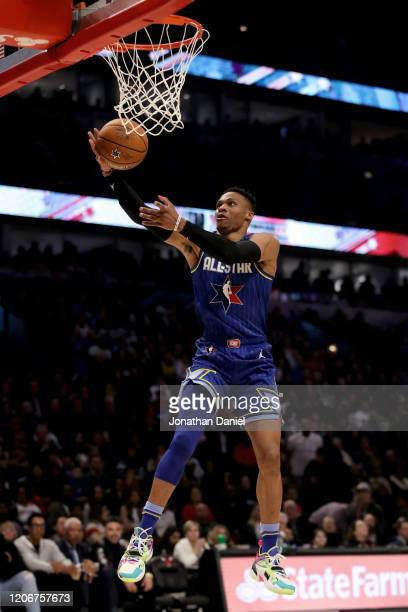 Russell Westbrook of Team LeBron attempts a layup in the fourth quarter against Team Giannis during the 69th NBA AllStar Game at the United Center on...