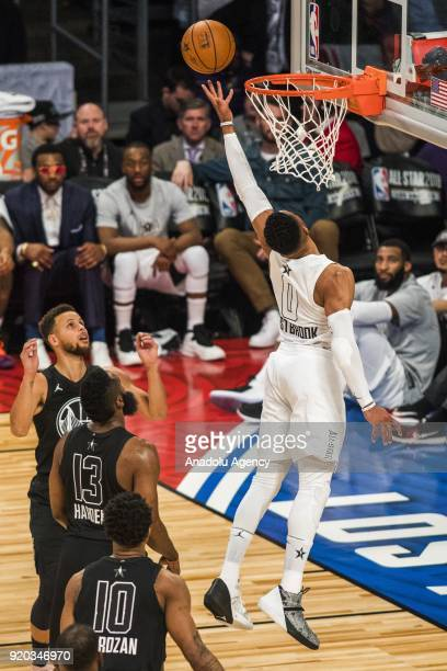 Russell Westbrook of Team Lebron goes for the lay up in the fourth quarter during the 2018 NBA AllStar Game at the Staples Center in Los Angeles...