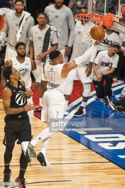 Russell Westbrook of Team Lebron goes for the layup in the fourth quarter during the 2018 NBA AllStar Game at the Staples Center in Los Angeles...