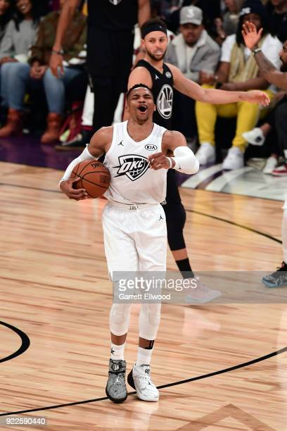 Russell Westbrook of team LeBron reacts during the NBA AllStar Game as a part of 2018 NBA AllStar Weekend at STAPLES Center on February 18 2018 in...