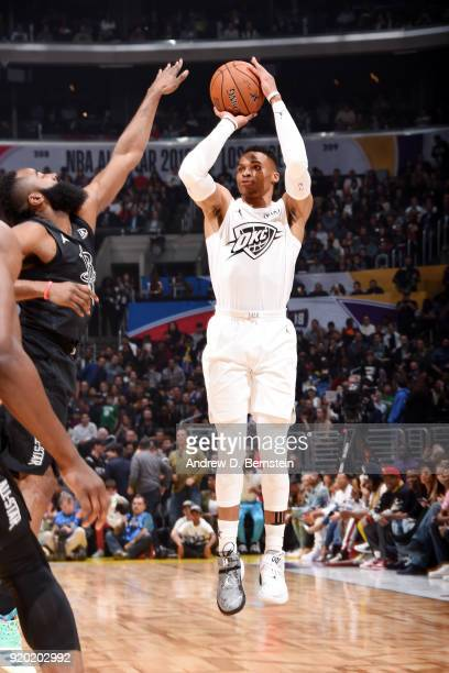 Russell Westbrook Of Team LeBron shoots the ball against Of Team Stephen during the NBA AllStar Game as a part of 2018 NBA AllStar Weekend at STAPLES...