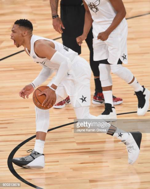 Russell Westbrook of Team LeBron yells during the NBA AllStar Game 2018 at Staples Center on February 18 2018 in Los Angeles California