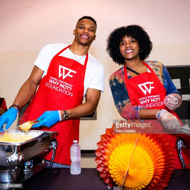 Russell Westbrook of the Houston Rockets and Nina Westbrook serve members of the Greater Houston Boys and Girls Club during The Russell Westbrook Why...
