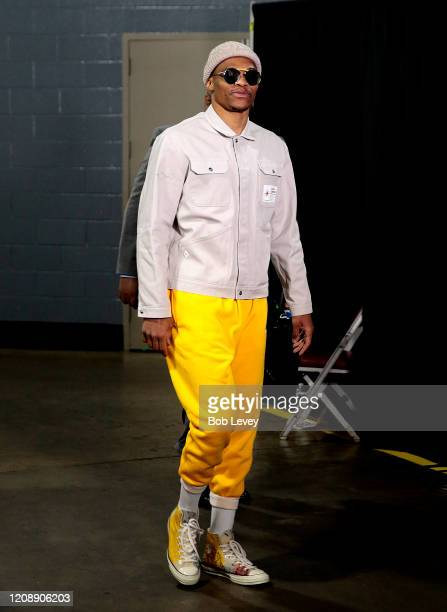 Russell Westbrook of the Houston Rockets arrives at Toyota Center before playing the Memphis Grizzlies on February 26, 2020 in Houston, Texas. NOTE...