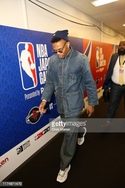 Russell Westbrook of the Houston Rockets arrives to the 2019 NBA Japan Game against the Toronto Raptors on October 10 2019 at Saitama Super Arena in...