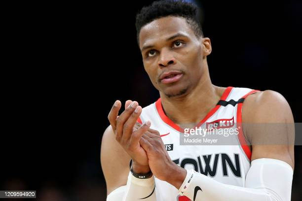 Russell Westbrook of the Houston Rockets celebrates during the second half of the game against the Boston Celtics at TD Garden on February 29 2020 in...